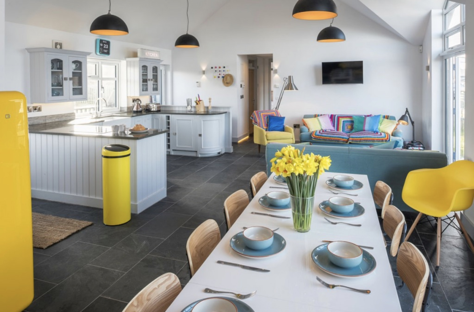 Kitchen Dining and living area in Surf Six holiday home in Cornwall with beach decor and eclectic colour scheme