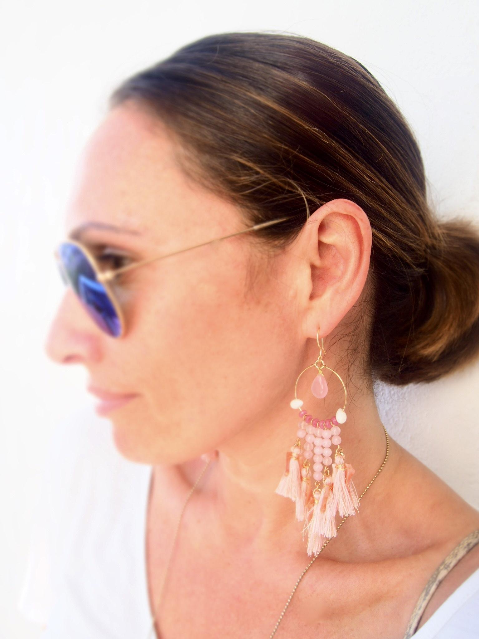 Large pink tassel earrings by Susan Suell