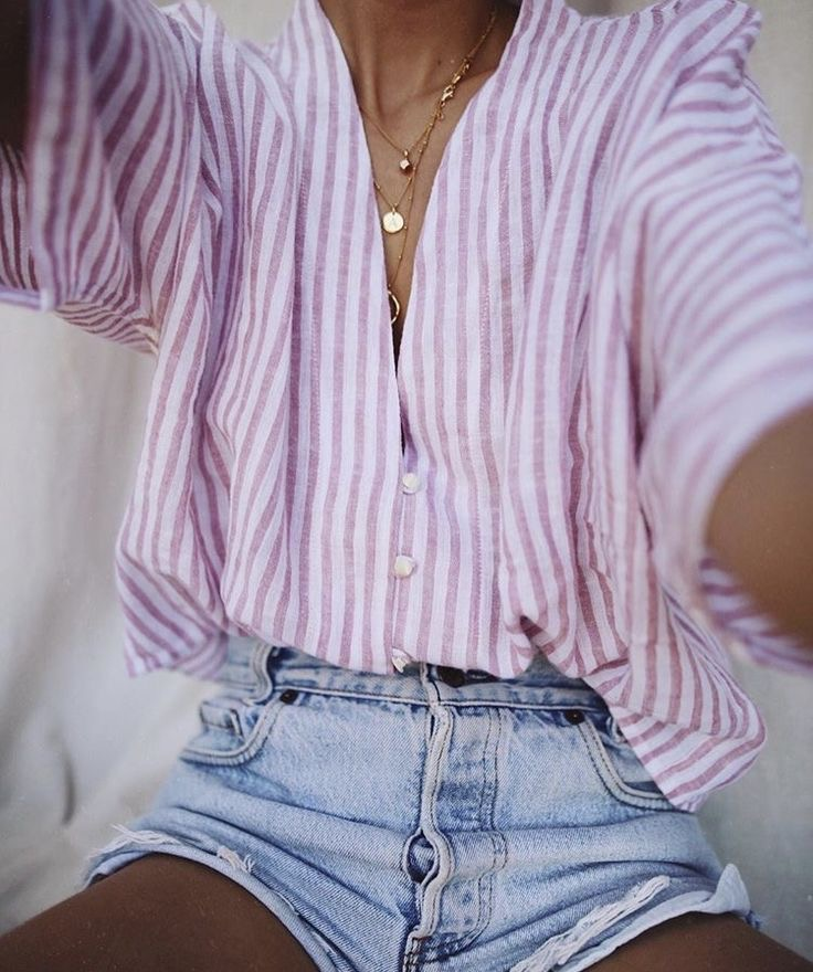 Super oversized pale pink striped linen boyfriend shirt worn with faded Levi 501 cut off shorts and vintages necklaces