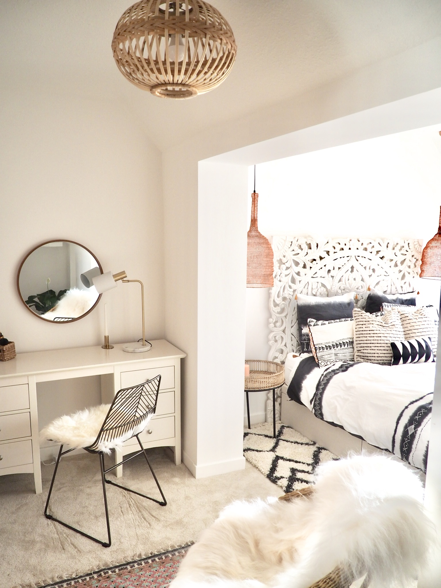 Teenage Girl's Bedroom with copper mesh pendant lights and bamboo bedside tables