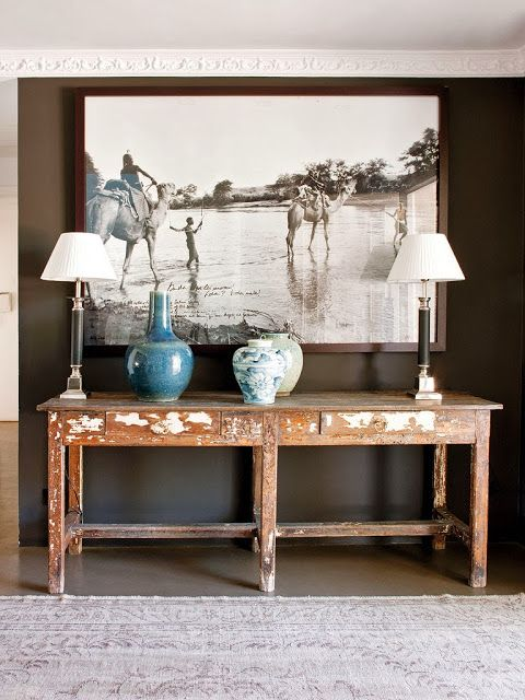 Console table with stunning artwork