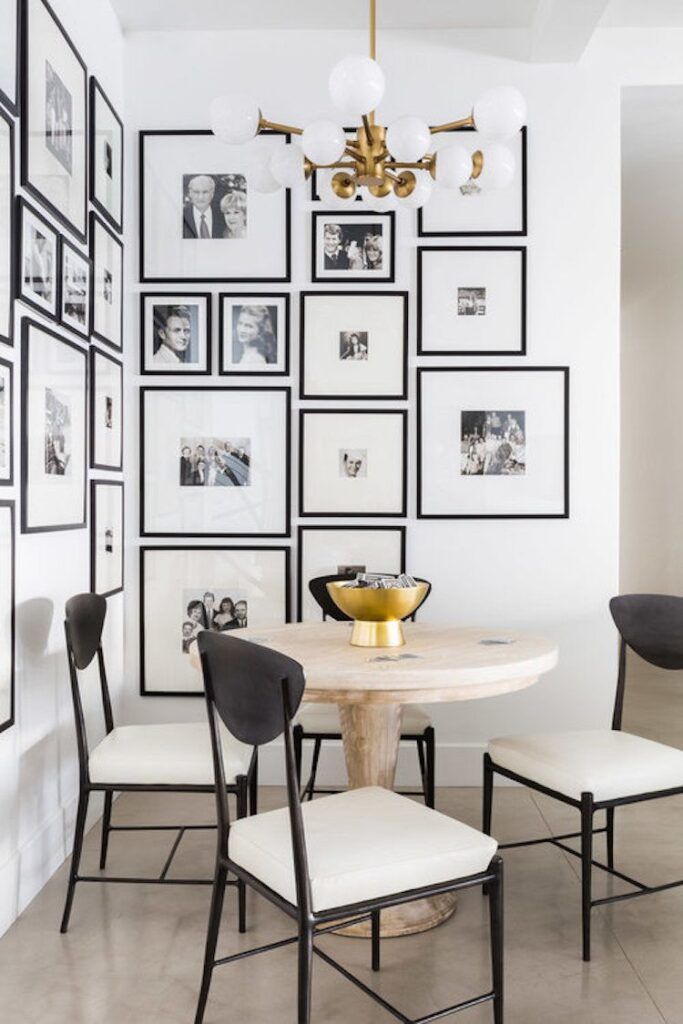 Gallery wall dining nook